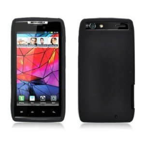 Motorola DROID RAZR Black Silicone Rubber Case Cover